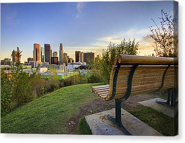 Park Benches Canvas Print - Empty Bench by Kenny Hung Photography