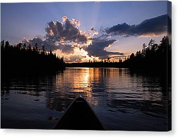 Evening Paddle On Spoon Lake Canvas Print by Larry Ricker