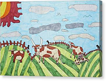 Family On Green Pastures Canvas Print