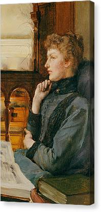 Chin On Hand Canvas Print - Far Away Thoughts by Sir Lawrence Alma-Tadema