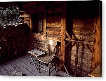 Firewood And A Chair On The Porch Canvas Print by Joel Sartore