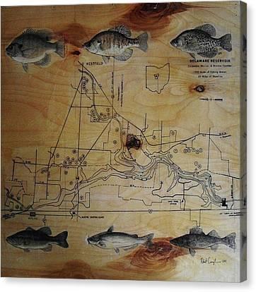 Fish Map Canvas Print by Robert Cunningham
