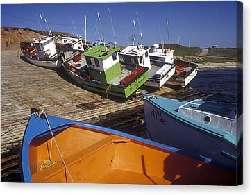 Fishing Boats - Magdalen Islands Canvas Print by Carol Barrington