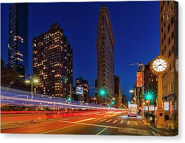 Canvas Print featuring the photograph Flatiron 5th Ave Clock Nyc  by Susan Candelario
