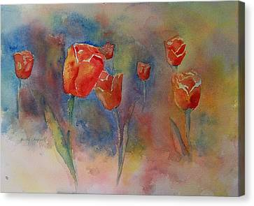 Floating Tulips Canvas Print by Becky Chappell