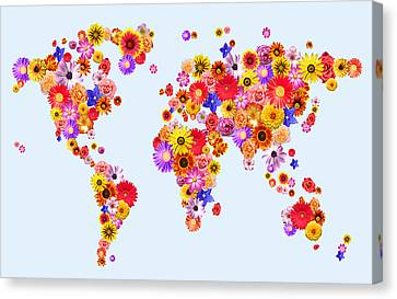 Flower World Map Canvas Print