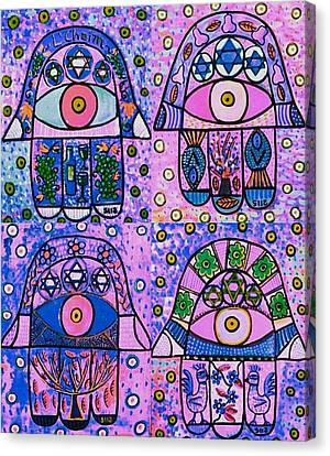 Four Pink Hamsa Canvas Print by Sandra Silberzweig