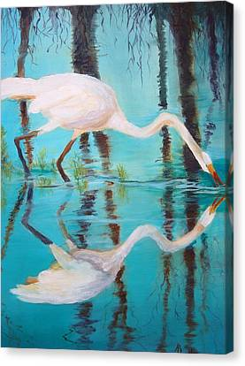 Canvas Print featuring the painting Fowl Fishing by AnnE Dentler