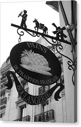 Boulangerie Canvas Print - French Bakery Sign - Black And White by Carol Groenen