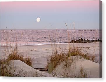 Full Moon Over Folly Beach Canvas Print by Vanessa Kauffmann