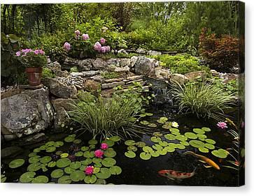 Garden Pond - D001133 Canvas Print by Daniel Dempster
