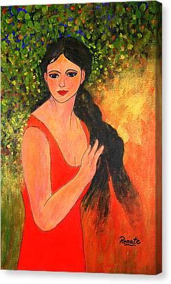 Girl Braiding Her Hair.... Canvas Print