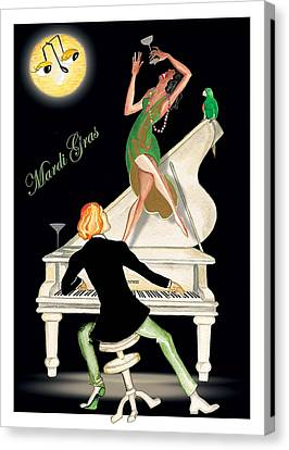 Girl Dancing On Piano Canvas Print by Anne Beverley-Stamps