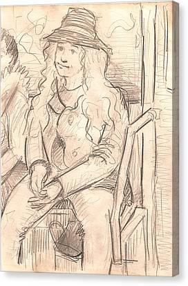 Girl On A Train Canvas Print by Al Goldfarb