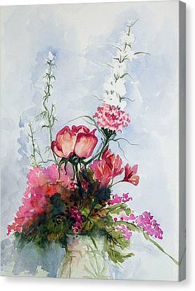 Canvas Print featuring the painting Goodbye Bouquet  by Pat Crowther