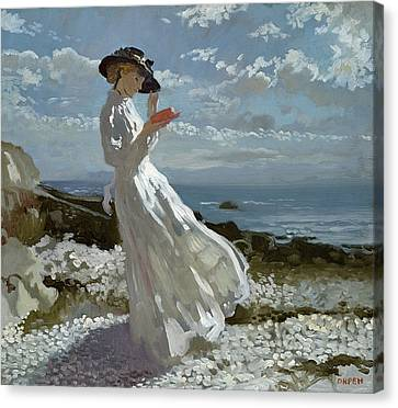 Grace Canvas Print - Grace Reading At Howth Bay by Sir William Orpen