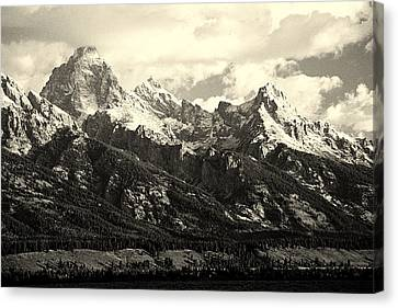 Grand Teton Range In Vintage Light Canvas Print by The Forests Edge Photography - Diane Sandoval