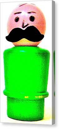 Green Man Mustache Canvas Print