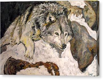 Canvas Print featuring the painting Grey Wolf Resting In The Snow by Koro Arandia