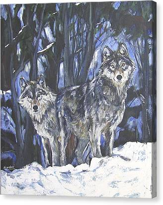Canvas Print featuring the painting Grey Wolves by Debora Cardaci
