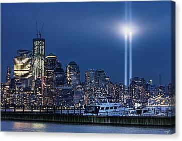 Ground Zero Tribute Lights And The Freedom Tower Canvas Print by Chris Lord