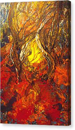 Canvas Print featuring the painting Guiding Light Out Of The Forest by Koro Arandia
