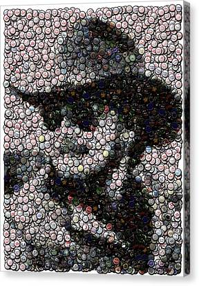 Hank Williams Jr. Bottle Cap Mosaic Canvas Print by Paul Van Scott