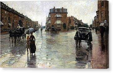 Encbr Canvas Print - Hassam: Rainy Boston, 1885 by Granger
