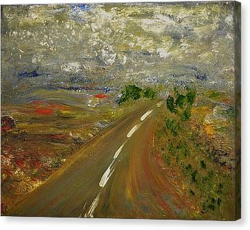 Canvas Print featuring the painting Hit The Road by Evelina Popilian