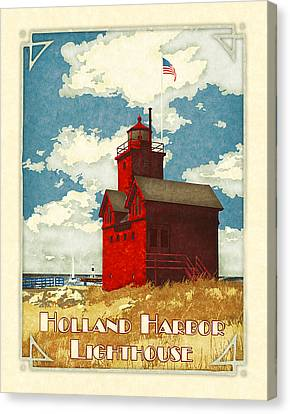 Holland Harbor Lighthouse Canvas Print by Antoinette Houtman