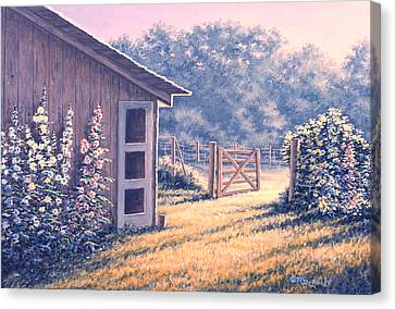 Holly Hocks Canvas Print by Richard De Wolfe