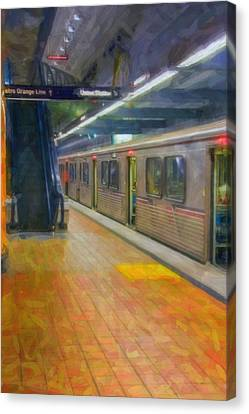 Canvas Print featuring the photograph Hollywood Subway Station by David Zanzinger