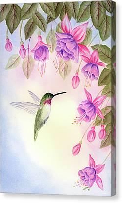 Hummingbird With Fuchsia Canvas Print by Leona Jones