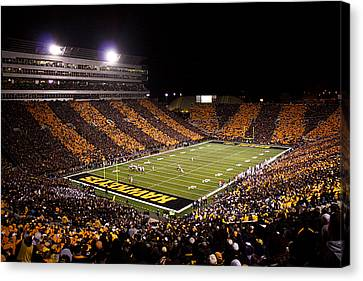 Iowa Black And Gold Stripes At Kinnick Stadium Canvas Print by Justin Scott