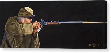 Canvas Print featuring the painting Johnny Reb by Karen Wilson