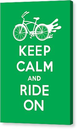 Keep Calm And Ride On Cruiser - Green Canvas Print by Andi Bird