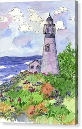 Canvas Print featuring the painting Lighthouse In Summer  by Cathie Richardson