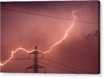 Lightning Hitting An Electricity Pylon Canvas Print by Peter Lawson