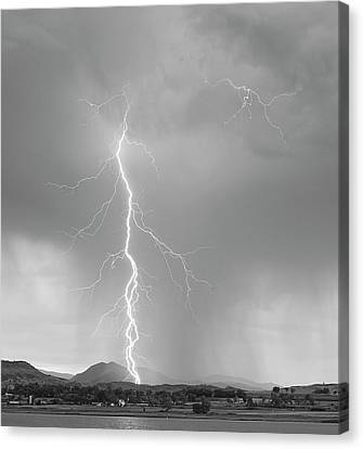 Lightning Strike Colorado Rocky Mountain Foothills Bw Canvas Print by James BO  Insogna