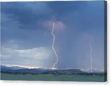 Lightning Striking At Sunset Rocky Mountain Foothills Canvas Print