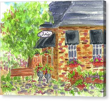 Canvas Print featuring the painting Lila's Cafe by Cathie Richardson