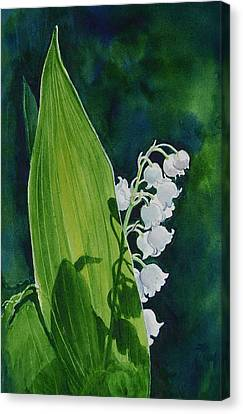 Canvas Print featuring the painting Lily Of The Valley by Margit Sampogna