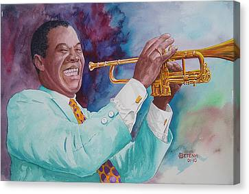 Louis Armstrong Canvas Print by Charles Hetenyi