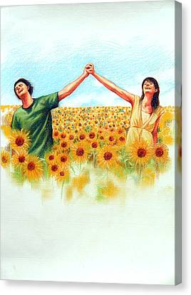Canvas Print featuring the painting Lovely by Chonkhet Phanwichien