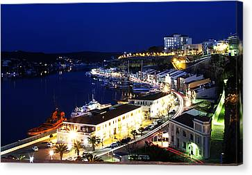 Canvas Print featuring the photograph Mahon Harbour At Night by Pedro Cardona