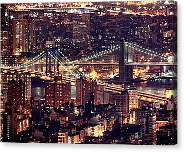 Manhattan And Brooklyn Bridges Canvas Print by Rob Kroenert