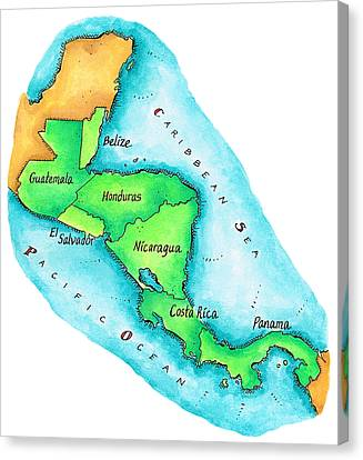 Map Of Central America Canvas Print by Jennifer Thermes