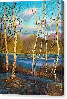 March. Birches Canvas Print by Sergey Zhiboedov