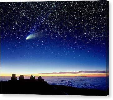 Keck Telescope Canvas Print - Mauna Kea Telescopes by D Nunuk and Photo Researchers
