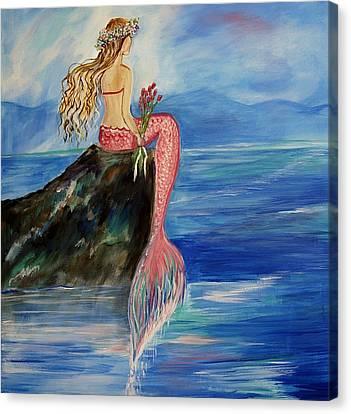 Mermaid Wishes Canvas Print by Leslie Allen